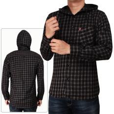 Kemeja Flanel Model Jaket Sweater Hoodie Kupluk Cowok Lengan Panjang