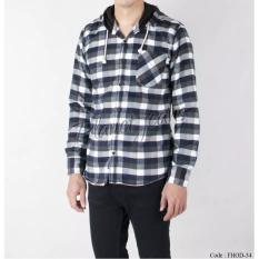Kemeja Flanel Model Jaket Sweater Hoodie Kupluk Cowok Lengan Panjang Dan Motif Kotak Bahan Flannel HODIE FHOD-11
