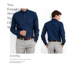 Kemeja Formal Biru Navy Original Jerry Moss  Kemeja Kerja Polos