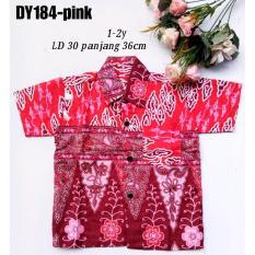 kemeja hem batik anak bahan katun warna pink DY184