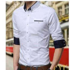Beli Kemeja Hem Lengan Panjang Slimfit Streatch Pria Cowokl Laki Jepang Korea Korean Stylish Trendy Cotton Katun Putih Terbaru