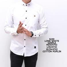 kemeja kasual lengan panjang putih cotton poplin-long white grandad