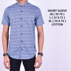 Beli Kemeja Kasual Pria Short Blue Cotton Lengan Pendek Kayla Store Online