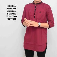 Kemeja Koko Pakistan Baju Gamis Muslim Baju Qurta Pria Lengan 3/4 Marun List Hitam
