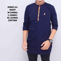 Kemeja Koko Pakistan Baju Gamis Muslim Baju Qurta Pria Lengan 3/4 Navy List