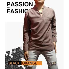 Kemeja Koko Shirt Long Sleeve Brown Merk Black Orange - Ilzcqo