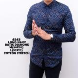 Promo Kemeja Lengan Panjang Batik Songket Slimfit Navy Kemeja Kerja Kantor Cowok Pria Premium Indonesia