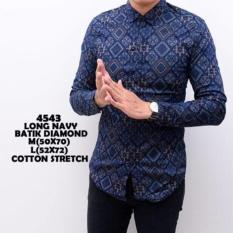 Promo Kemeja Lengan Panjang Batik Songket Slimfit Navy Kemeja Kerja Kantor Cowok Pria Premium Oem