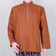 Jual Kemeja Muslim Pria Baju Koko Coklat Resleting Murah Berkualitas Simple Keren Dan Berwibawa Essential Clothes Original