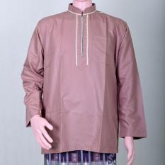 Kemeja Muslim Pria, Baju Koko Coklat Susu Resleting Murah Berkualitas Simple Keren dan Berwibawa