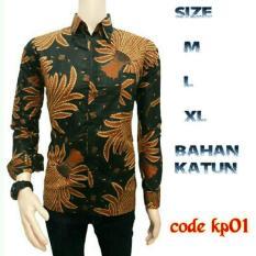 kemeja panjang batik pria kp01 sogan jokowi coklat | BATIK PEKALONGAN