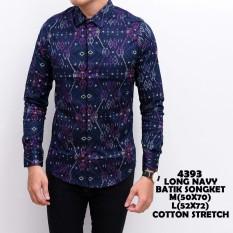 Harga Kemeja Panjang Batik Songket Biru Long Blue Batik Songket Yang Murah Dan Bagus
