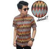 Jual Kemeja Pendek Batik Rangrang Modern Orange Lengkap