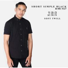 Kemeja Pendek Hitam the most terlaris termurah nyaman adem di pakai kerja kantor sehari hari beli baju pria distro bandung atasan pria keren