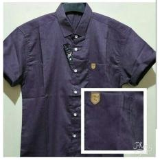 kemeja pendek polos ungu muda fashion pria