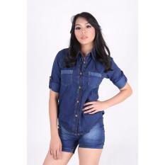 Katalog Kemeja Pendek Wanita Jeans 3 4 3305 Terbaru