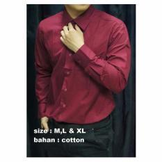 Harga Kemeja Polos Pria Lengan Panjang Merah Marun Cpmm Murah