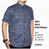 Kemeja Pria Batik Formal Casual Kantoran 4057 Short Sleeve Navy Blue The Most Diskon 40