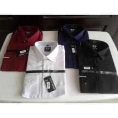 Review Kemeja Pria Formal Lengan Panjang Polos Biru Dongker Merk Jerry Moss Fashion Pria