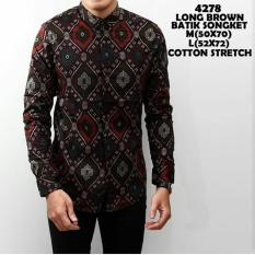 Daftar Harga Kemeja Pria Kemeja Lengen Panjang Batik Songket Brown Batik
