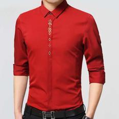 Kemeja Pria Lengan Panjang Adam Baju Formal Slimfit - [Merah]