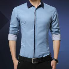 Beli Kemeja Pria Lengan Panjang Hnm Baju Formal Slimfit Soft Blue Yang Bagus