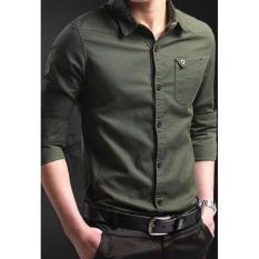 Kemeja Pria Lengan Panjang Miller Baju Formal Slimfit [Green Army]