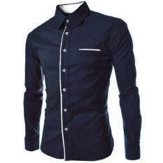 Spesifikasi Kemeja Pria Lengan Panjang Peter Baju Formal Slimfit Navy Baru