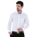 Toko Jual Kemeja Pria Alisan Lengan Panjang Polos Slim Fit Putih