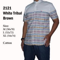 Spek Kemeja Pria Lengan Pendek Casual Kantoran Putih 2121 With Tribal The Most
