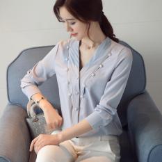 Harga Kemeja Korea Perempuan Atasan Korea Fashion Style V Neck Cahaya Biru Baju Wanita Baju Atasan Kemeja Wanita Asli