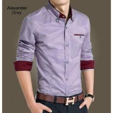 Kemeja Slim Fit Alexander Grey - Enmnum