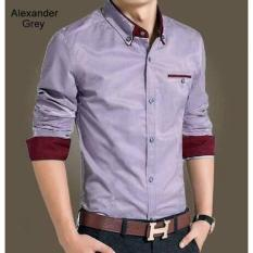 Kemeja Slim Fit Alexander Grey - Hot Items