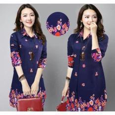 Spesifikasi Kemeja Tunik Jumbo Fashion Muslim Rayon Flower Kyoko Navy Terbaik