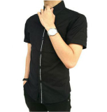Spesifikasi Kemura Kemeja Casual Black Comby White Short Sleeve Kemura