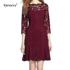 Kenancy Wanita Elegan Full Floral Lace Fit And Suar A-Line Gaun 3/4 Lengan Cocktail Pesta Pernikahan Kerja Lutut Panjang Gaun