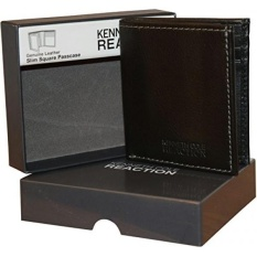 Kenneth Cole Reaction Mens Genuine Leather Passcase Wallet With Gift Box - Black - intl