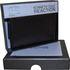 Kenneth Cole Reaction Mens Genuine Leather Trifold Wallet With Gift Box-Black - intl