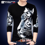 Toko Kepala Harimau Musim Semi Dicetak Leher Bulat Lengan Panjang Kaos White Tiger 1703 Online