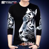 Beli Kepala Harimau Musim Semi Dicetak Leher Bulat Lengan Panjang Kaos White Tiger 1703 Terbaru