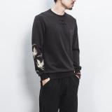 Diskon Kepribadian Angin Cina Laki Laki Lengan Panjang Musim Gugur Pullover Kemeja Bordir Sweater Hitam Akhir Tahun