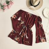 Toko Kerah Datar Bh Klakson Lengan Panjang Jumpsuit Celana Pendek Arak Anggur Warna Online