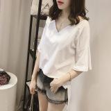 Harga Kerah Pasang Warna Solid Lengan Pendek T Shirt Putih Baju Wanita Baju Atasan Kemeja Wanita Terbaik