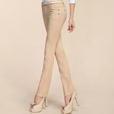 Kerah Putih Musim Semi atau Musim Panas Bagian Tipis Celana Panjang Perempuan Koboi Berkobar Celana (Coklat Muda Warna)