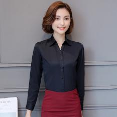 Beli Kerja Profesional Perempuan Lengan Panjang Kemeja Perkakas Kemeja Putih Kepar V Neck Hitam Lengan Panjang ★ Murah Tiongkok