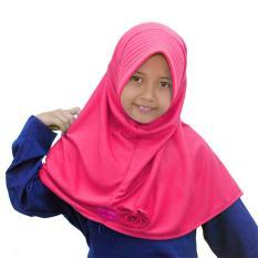 Kerudung Jilbab Anak Murah Polos Pita Cantik Pink Fanta / Kerudung anak