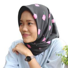 Harga Kerudung Segi Empat Square Hijab Monalisa Tulip Hitam Satu Set