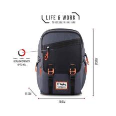 Key Bag Tas Ransel Korea Style 1004-18 Inchi - Grey Original