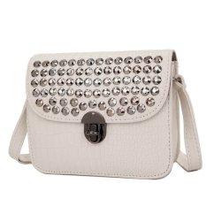 Kgs Tas Selempang Wanita Impor Casual Croco Metal Dots Mini Satchel Bag Putih Asli
