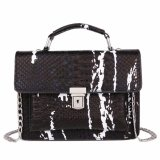 Spek Kgs Tas Casual Wanita Embossed Faux Snake Leather Satchel Bag Hitam
